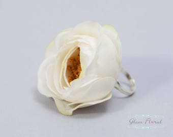 Wedding Flower Ring, Real Touch Rose, Wedding Flowers, Cream White Jewellery, Floral Wedding, Floral Ring, Gift for Bride Bridesmaid