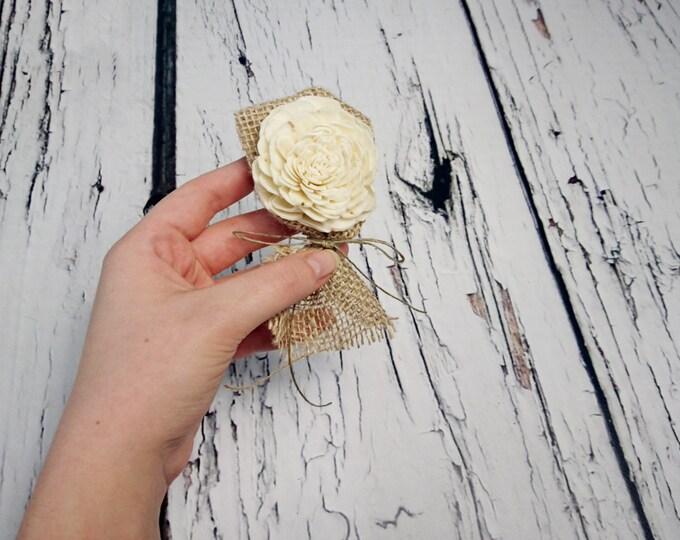 Ivory brown rustic wedding simple Boutonniere Groom and groomsmen Sola Flower southwestern Wedding Flowers custom
