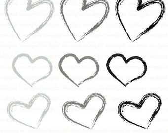 Digital Black Hearts, Gray Digital Hearts, Heart Clip Art, Hearts Instant Download