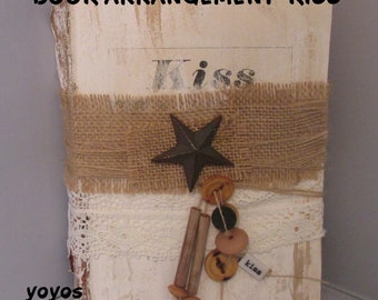 BOOK, ARRANGEMENT, KISS, Shabby Chic, Embellished Book, Unique Item, Home Décor, Country Accent, Western, Southwest, Host Hostess Gift