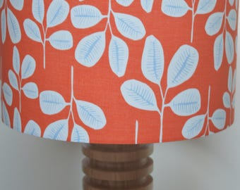Grey leaves lampshade - tangerine lampshade - orange lampshade - orange and grey lampshade - jungle inspired - tropical flowers - fronds