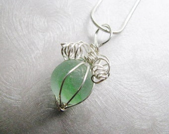 Soft Green Marble Pendant - Sea Glass Pendant - Beach Glass Jewelry - Ocean Jewelry Gift - Wire Wrapped Sea Glass Marble Pendant Necklace