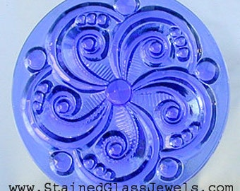 Swirly Sapphire Stained Glass Jewel 35mm