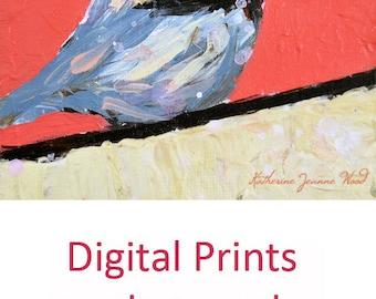 Pink Cottage Chic Chickadee Bird Painting Print. Animal Portrait Art Digital Print. Wildlife Wall Decor. 108