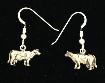Small Dairy Cow Earrings in Sterling Silver on Sterling earwires for 4H FFA girls or women showing their cows livestock jewelry