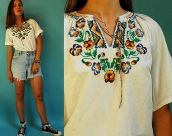 1970s Folk Floral Embroidered Polish Blouse