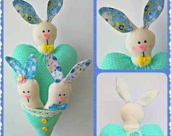 Ready to Ship - Easter Bunnies and Heart Hanging Ornament, Handmade Bunnies, Stuffed Animal, Home and Holiday Decor, Handmade Decoration