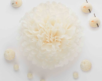 Paper pom poms in IVORY color- wedding decorations / party poms / cream decorations / tissue paper PomPom/ nursery decor / party decorations
