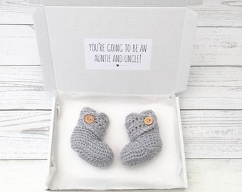 pregnancy announcement, auntie and uncle to be, gender neutral crochet booties, baby reveal