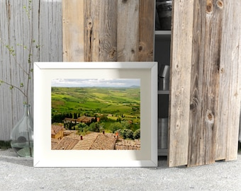 Tuscany Landscape Art - Italy Photography - Green Home Decor - Under Tuscan Sun Photo Print Italian Rustic Harvest Cypress Art