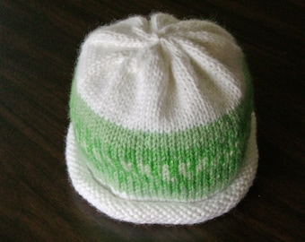 Green and White Nordic Print Knitted Baby Hat size 6 to 12 months ready to ship