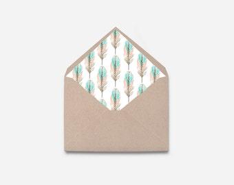 DIY Envelope Liner, Feather, Printable Envelope (468)