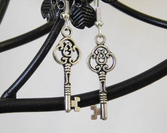 SILVER KEY EARRINGS, Gothic Earrings, Key Charm Earrings, Dangle Drop Earrings, Pagan Earrings