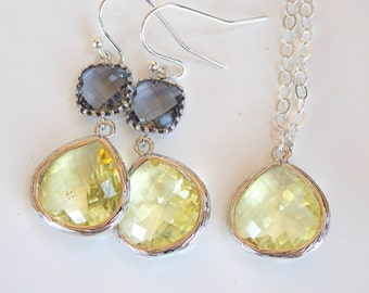 Wedding Jewelry Set, Yellow and Grey Earrings and Necklace, Sterling Silver, Citrine, Soft Yellow, Gray, Bridesmaids Set, Gifts, Dangle
