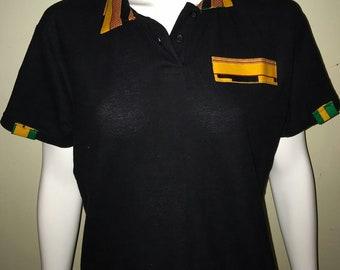 Women Dashiki Polo Black with collar and stripe (black and yellow)Black Panther Wakanda Motherdays