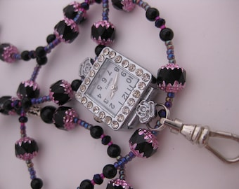 Rhinestone Flowered Watchface Nurses Watch Necklace and Bracelet 2pc Jewelry Set w/Pink & Black MultiFaceted Cathedral Beads ID Badge Holder