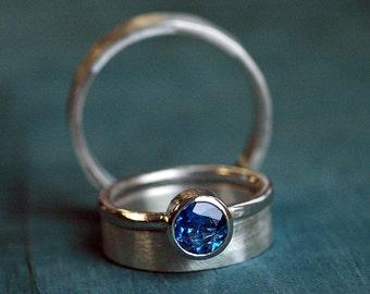 Wedding Ring Set - Wedding Ring Set His Her - Wedding Rings - Blue Sapphire Engagement Ring - Wedding Rings Silver - Wedding Bands Band 4063