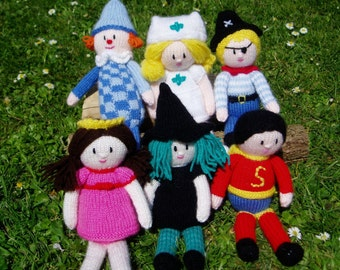PDF Knitting Pattern - 'Little People - Play Dress-Up'