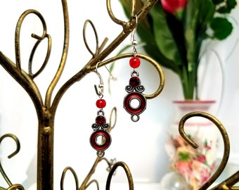 Beaded Charm Earrings by Anne O'Brien Design / Ruby Red and Silver Wire Earrings