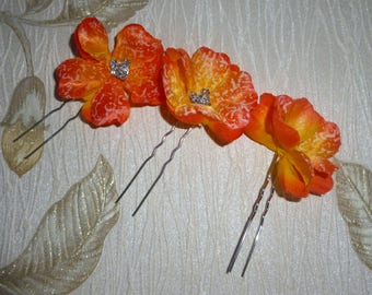 Bridal hairpins, orange color flower hairpins, set of 3 WEDDING | PROM | PARTY