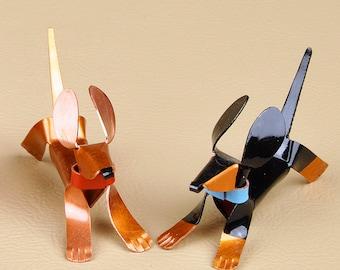 Dachshund Puppy Dog Sculpture Handmade Copper Miniature Collectible Dog Art, Dachshund Art, Dachshund Figurine, Dachshund Statue