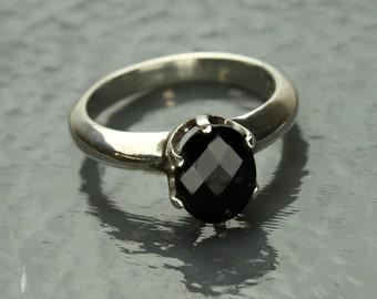 Black Spinel Ring, Faceted Ebony Black Spinel Gemstone Prong set in Sterling Silver Ring