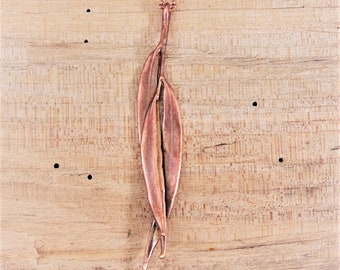 Electroformed Real Eucalyptus Leaves Copper Necklace P14