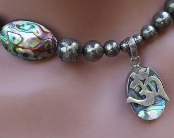 Abalone OM Symbol with Abalone and Pyrite Beads