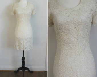 Rehearsal Dinner Dress - 90s white lace dress with beading, size 4
