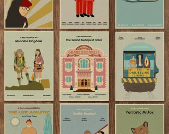 Set of 9 Wes Anderson Minimalist Movie Posters - 16 x 12