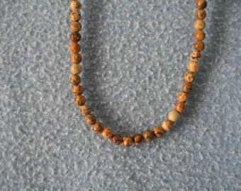 4mm Round Picture Jasper gemstone Necklace