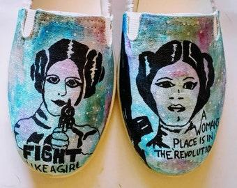 Star Wars Princess Leia Hand painted shoes