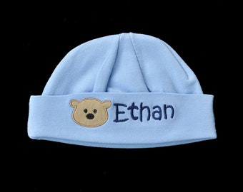 Personalized Bear Beanie Hat - Bear Baby Hat - Bear Beanie Cap - Newborn Cap - Hospital Hat - Teddy Bear - Newborn Bear Hat -Infant Bear Hat
