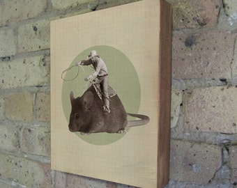 The Mouse and The Cowboy - Wood Block Art Print