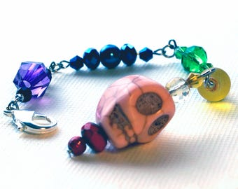 Rainbow Skull Planner Charm Grand by Empress Animal - Glam Goth - Pastel Skeleton Accessories - Sugar Skull - Pride - TN Journal Clips