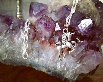 Unicorn Necklace Pretty Horse Fairytale Fantasy Mythical Creature Magical Pagan Pretty Cute