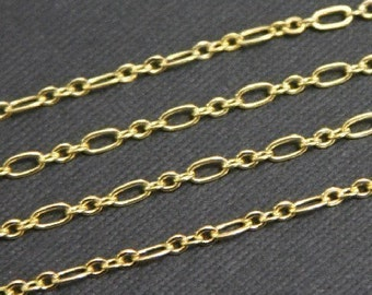 3ft SAMPLE  chain Gold plated Chain ( 3 and 1 ) Long and Short link 4.5X2.5mm - soldered links, gold chain, gold plated brass chain