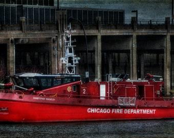 Art,Photography,Wall Art,Red, Nautical,Home Decor, Fine Art Print,Chicago, Navy Pier, Chicago Fire Department, Navy Pier Photo,Chicago River