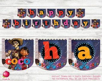 Coco Birthday Banner - Dia de los Muertos Birthday Banner - Coco Banner - Guitar Birthday Party - Digital Download