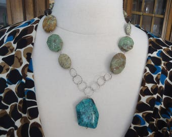 """Vintage 925 Sterling Silver African Turquoise Jasper & Smokey Quartz Necklace, 19 1.2"""" Long"""