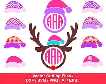 Santa hats circle monogram frames / Christmas SVG / svg, dxf, ai, eps, png / Santa Claus Hats SVG  / Christmas Cut Files