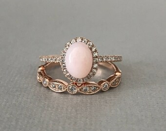 Pink Peruvian Opal Ring Art Deco Rose Gold Simulated Diamond Engagement Set Sterling Silver 2PC Fancy Wedding Promise Band Ring Set