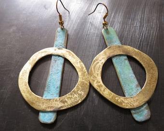Abstract geometric oxidized brass dangle earrings - abstract brass hoop earrings - geometric hoop dangle earrings- oxidized brass jewelry