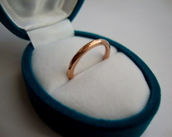 simple rough band in solid 18k rose gold- mark of the maker- wedding ring