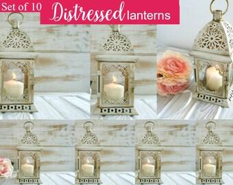 Hand painted White and Gold wedding lantern, Vintage moroccan lantern, Distressed lanterns, Wedding decor, Candle Holder Lantern