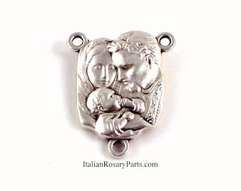 Holy Family Rosary Center Medal Jesus Mary and Joseph | Italian Rosary Parts
