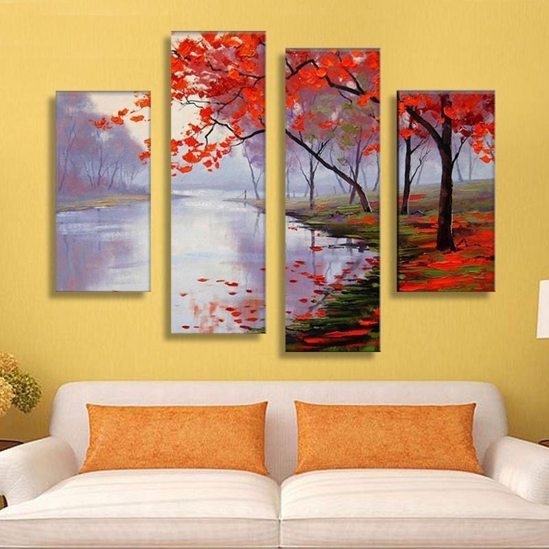 Lake Autumn split framed canvas print