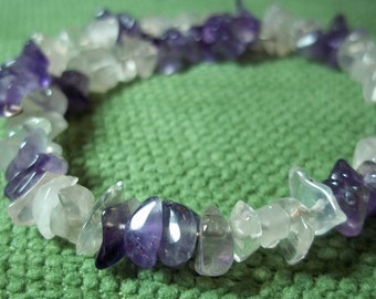 Peace and Calm, Healing Stones Bracelet, rose quartz, amethyst, natural, memory wire, gemstone synergy