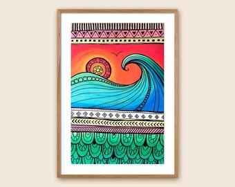 "Surf Art Print - Beach Art - Ocean Art - Sea Art - ""Sunrise Surf Sessions"""