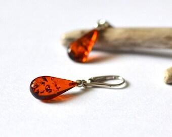 Baltic Amber Earrings / cognac polished amber drops /  drop earrings / cognac amber
